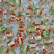 Miçanga 6/0 Rajada Lined Verde/ Vermelho 708837