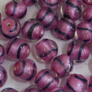 Murano Italiano Decorado Filetado Rosa 10 mm 709288