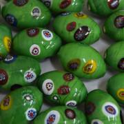 Murano Italiano Decorado Millefiori Verde  23/15 mm 710191