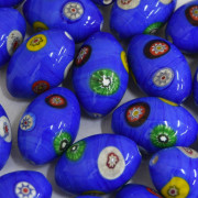 Murano Italiano Decorado Millefiori Azulão 23/15 mm 710193