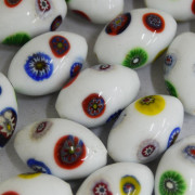Murano Italiano Decorado Millefiori Branco 23/15 mm 710194