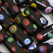 Murano Italiano Decorado Millefiori Preto 30/11 mm 710200