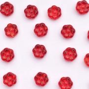 Enfeite de Vidro Opaco Tcheco  Flor 8 mm Vermelho 710232