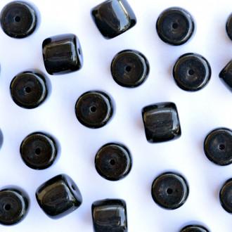 Enfeite Murano Opaco Tcheco Cilindro 9 / 10 mm Preto 709075