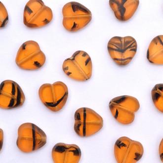 Enfeite de Vidro Tcheco Coração 10 x 10 mm Olho de Tigre 710375